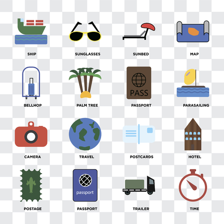 Set Of 16 icons such as Time, Trailer, Passport, Postage, Hotel, Ship, Bellhop, Camera on transparent background, pixel perfect Illustration