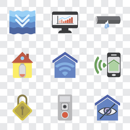Set Of 9 simple transparency icons such as Smart home, Intercom, Locking, Smartphone, Home, Leak, Dashboard, Deep, can be used for mobile, pixel perfect vector icon pack on transparent
