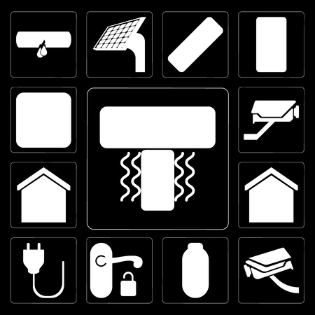 Set Of 13 simple editable icons such as Air conditioner, Security camera, Power, Handle, Plug, Smart home, Cctv, Dimmer on black background Çizim