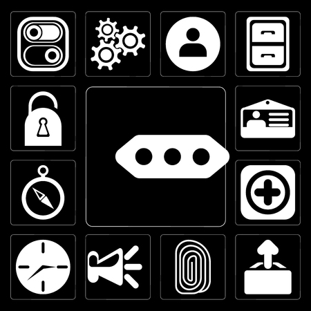 Set Of 13 simple editable icons such as More, Upload, Fingerprint, Speaker, Clock, Add, Compass, Id card, Locked on black background Ilustrace