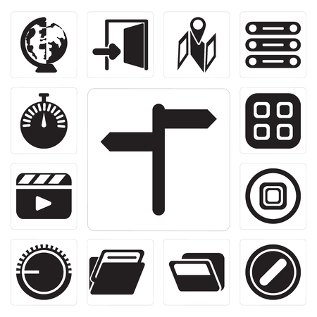 Set Of 13 simple editable icons such as, Forbidden, Folder, Volume control, Stop, Video player, Menu, Stopwatch, web ui icon pack