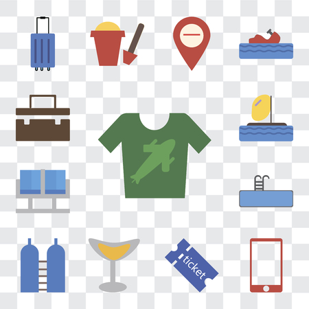 Set Of 13 transparent editable icons such as Shirt, Phone, Tickets, Cocktail, Oxygen, Swimming pool, Waiting room, Parasailing, Suitcase, web ui icon pack, transparency set