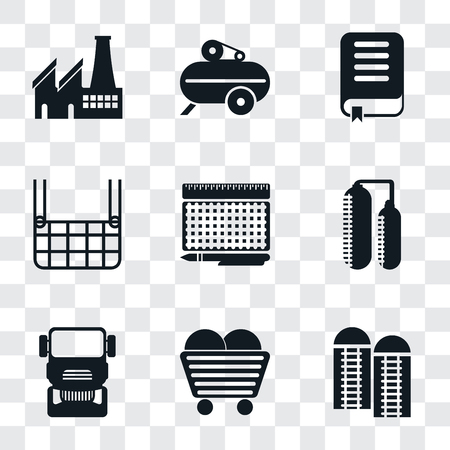 Set Of 9 simple transparency icons such as Silo, Coal, Truck, print, Elevator, Book, Compressor, Factory, can be used for mobile, pixel perfect vector icon pack on transparent background