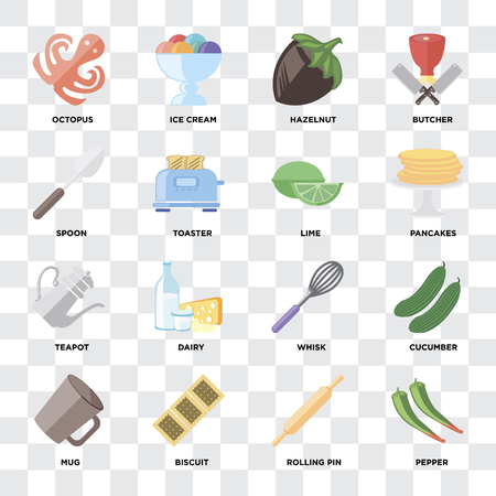 Set Of 16 icons such as Pepper, Rolling pin, Biscuit, Mug, Cucumber, Octopus, Spoon, Teapot, Lime on transparent background, pixel perfect