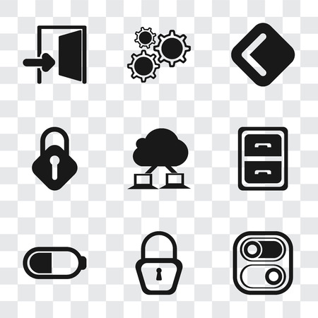 Set Of 9 simple transparency icons such as Switch, Locked, Battery, Archive, Cloud computing, Lock, Back, Settings, Exit, can be used for mobile, pixel perfect vector icon pack on transparent Illustration