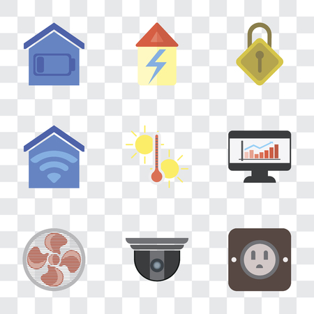 Set Of 9 simple transparency icons such as Plug, Security camera, Fan, Dashboard, Temperature, Smart home, Locking, Home, can be used for mobile, pixel perfect vector icon pack on