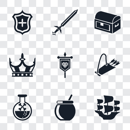 Set Of 9 simple transparency icons such as Caravel, Cauldron, Poison, Quiver, Banner, Crown, Chest, Sword, Shield, can be used for mobile, pixel perfect vector icon pack on transparent background
