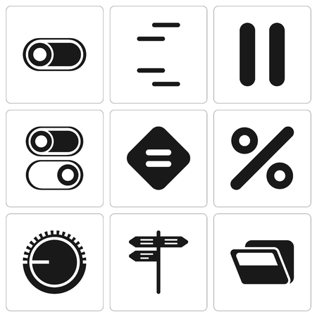 Set Of 9 simple editable icons such as Folder, Street, Volume control, Percent, Equal, Switch, Pause, can be used for mobile, pixel perfect vector icon pack Иллюстрация