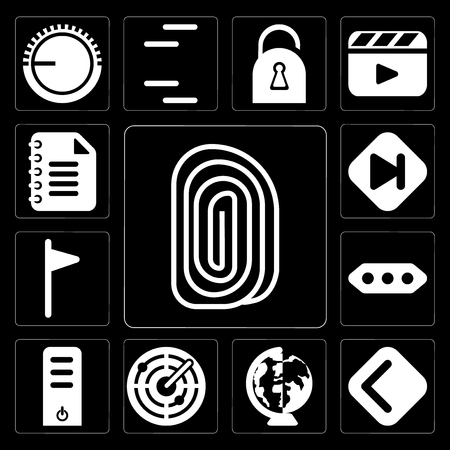 Set Of 13 simple editable icons such as Fingerprint, Back, Worldwide, Radar, Server, More, Flag, Skip, Notepad on black background