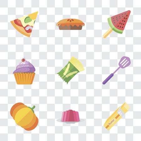 Set Of 9 simple transparency icons such as Butter, Jelly, Pumpkin, Spatula, Pasta, Cupcake, Ice cream, Pie, Pizza, can be used for mobile, pixel perfect vector icon pack on transparent background Banque d'images - 111925426