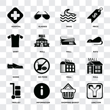 Set Of 16 icons such as Junction, Shopping basket, Information, Trolley, Mall, Hospital, Shirt, Shoes on transparent background, pixel perfect