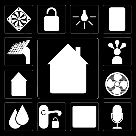 Set Of 13 simple editable icons such as Home, Voice control, Browser, Handle, Water, Fan, Smart, Panel on black background Ilustração