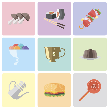 Set Of 9 simple editable icons such as Jawbreaker, Hamburguer, Teapot, Pudding, Tea, Ice cream, Kebab, Sushi, Mushrooms, can be used for mobile, pixel perfect vector icon pack