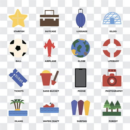 Set Of 16 icons such as Forest, Surfing, Water craft, Island, Photography, Starfish, Ball, Tickets, Globe on transparent background, pixel perfect Illustration