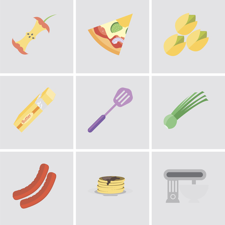 Set Of 9 simple editable icons such as Mixer, Pancakes, Sausage, Chives, Spatula, Butter, Pistachio, Pizza, Apple, can be used for mobile, pixel perfect vector icon pack