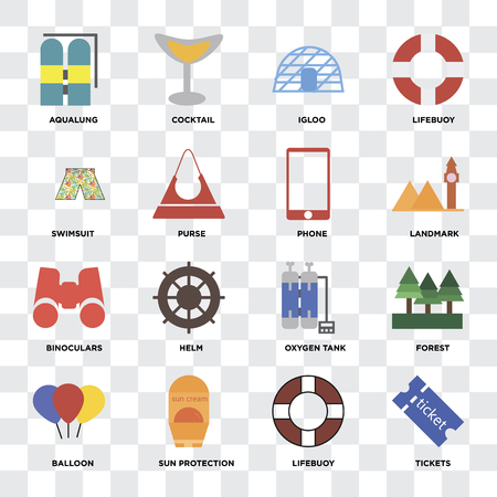 Set Of 16 icons such as Tickets, Lifebuoy, Sun protection, Balloon, Forest, Aqualung, Swimsuit, Binoculars, Phone on transparent background, pixel perfect Illustration