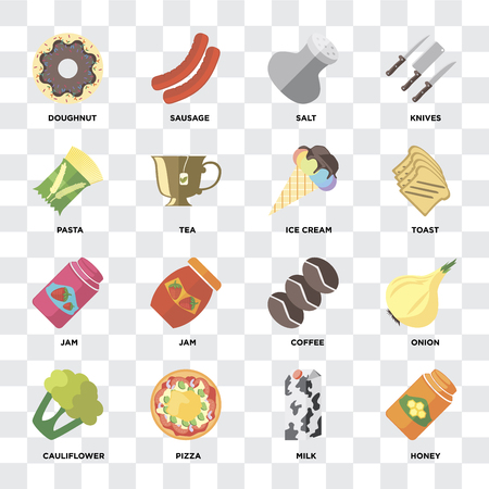 Set Of 16 icons such as Honey, Milk, Pizza, Cauliflower, Onion, Doughnut, Pasta, Jam, Ice cream on transparent background, pixel perfect Stock Vector - 111925436