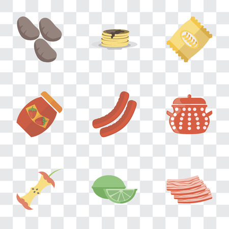 Set Of 9 simple transparency icons such as Bacon, Lime, Apple, Pot, Sausage, Jam, Chips, Pancakes, Potatoes, can be used for mobile, pixel perfect vector icon pack on transparent background