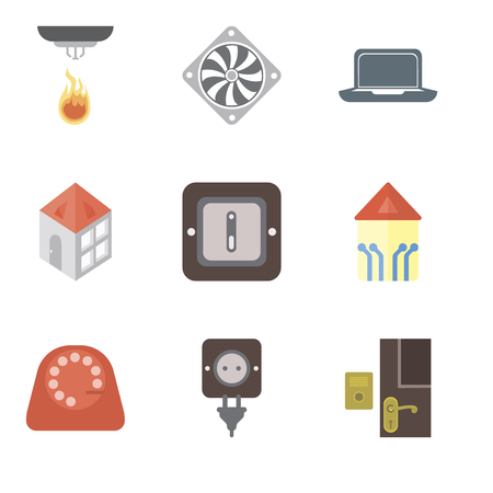 Set Of 9 simple editable icons such as Doorbell, Plug, Dial, Smart home, Switch, Home, Laptop, Cooler, Sensor, can be used for mobile, pixel perfect vector icon pack