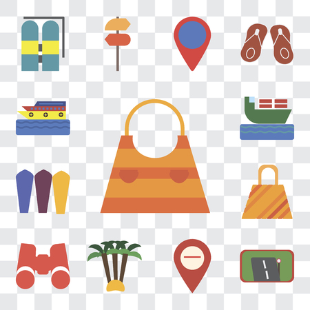 Set Of 13 transparent editable icons such as Bag, Gps, Map, Palm tree, Binoculars, Surfing, Ship, Cruise, web ui icon pack, transparency set
