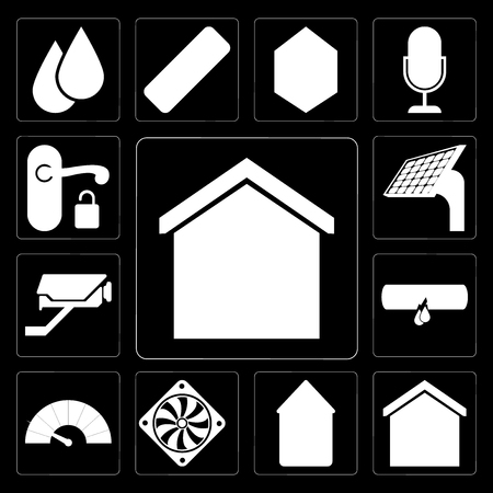 Set Of 13 simple editable icons such as Smart home, Home, Cooler, Meter, Leak, Cctv, Panel, Handle on black background