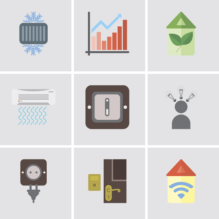 Set Of 9 simple editable icons such as Automation, Doorbell, Plug, Smart, Switch, Air conditioner, Eco home, Chart, Cool, can be used for mobile, pixel perfect vector icon pack