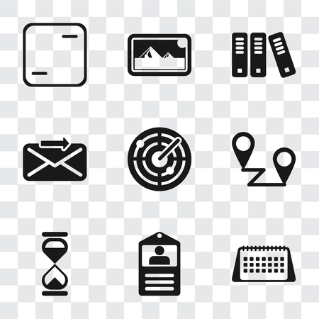 Set Of 9 simple transparency icons such as Calendar, Id card, Hourglass, Placeholders, Radar, Send, Archive, Photos, Frame, can be used for mobile, pixel perfect vector icon pack on transparent Illustration