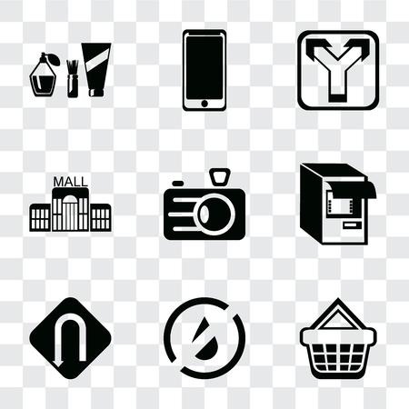 Conjunto de 9 iconos de transparencia simple, como cesta de la compra, sin agua, giro, cajero automático, cámara, centro comercial, cruce, teléfono inteligente, cosméticos, se puede utilizar para dispositivos móviles, paquete de iconos de vector perfecto de píxeles en transparente Ilustración de vector