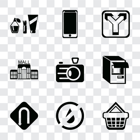 Set Of 9 simple transparency icons such as Shopping basket, No water, Turn, Atm, Camera, Mall, Junction, Smarthphone, Cosmetics, can be used for mobile, pixel perfect vector icon pack on transparent Vectores