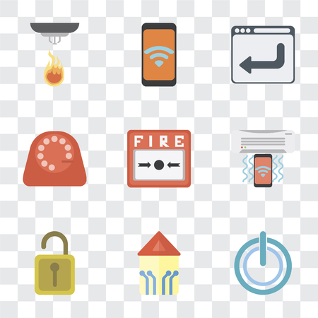 Set Of 9 simple transparency icons such as Power, Smart home, Unlock, Air conditioner, Fire alarm, Dial, Browser, Mobile, Sensor, can be used for mobile, pixel perfect vector icon pack on transparent