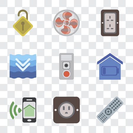 Set Of 9 simple transparency icons such as Remote, Plug, Smartphone, Smart home, Intercom, Deep, Fan, Locked, can be used for mobile, pixel perfect vector icon pack on transparent background