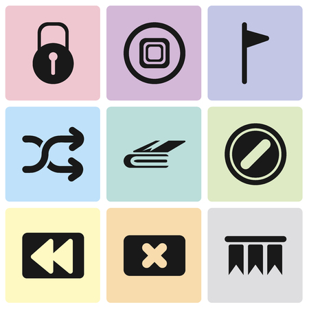 Set Of 9 simple editable icons such as Bookmark, Close, Rewind, Forbidden, Notebook, Shuffle, Flag, Stop, Locked, can be used for mobile, pixel perfect vector icon pack Illustration