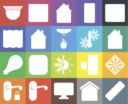 Set Of 20 icons such as Remote, Smart home, Dashboard, Doorknob, Handle, Browser, Cooler, Heating, Smart, Home, Temperature, Security camera, web UI editable icon pack, pixel perfect