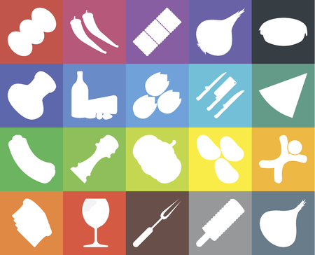 Set Of 20 icons such as Onion, Ice cream, Fork, Glass, Toast, Pie, Gingerbread, Pumpkin, Hot dog, Dairy, Knives, Coffee, Pizza, Biscuit, web UI editable icon pack, pixel perfect Illustration
