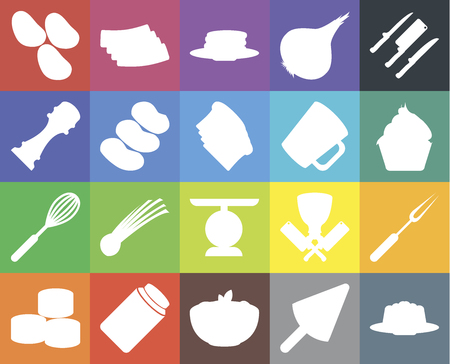 Set Of 20 icons such as Jelly, Ice cream, Pasta, Honey, Sushi, Knives, Fork, Scale, Whisk, Potatoes, Mug, Cupcake, Pancakes, web UI editable icon pack, pixel perfect Ilustração