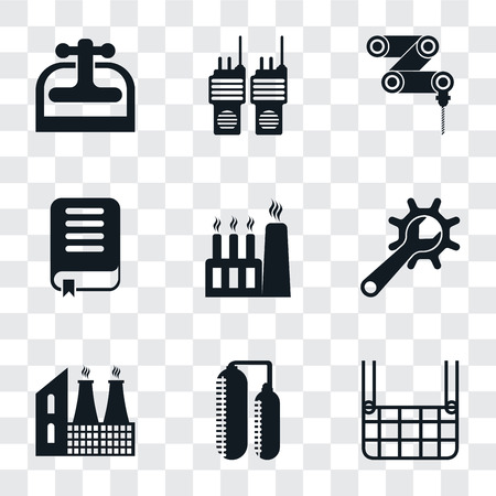Set Of 9 simple transparency icons such as Elevator, Silo, Factory, Maintenance, Book, Drilling machine, Walkie talkie, Machine press, can be used for mobile, pixel perfect vector icon pack