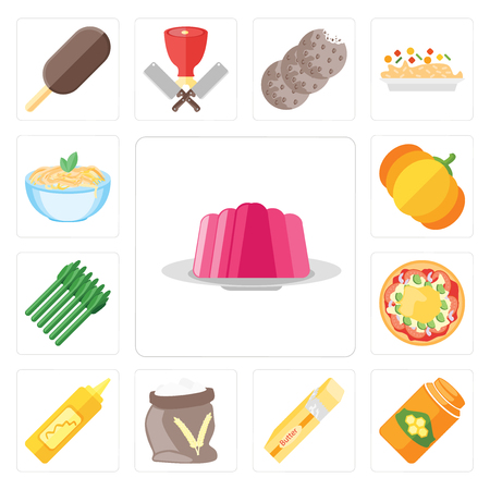 Set Of 13 simple editable icons such as Jelly, Honey, Butter, Flour, Mustard, Pizza, Asparagus, Pumpkin, Pasta, web ui icon pack 向量圖像