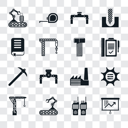 Set Of 16 transparent icons such as Planning, Walkie talkie, Conveyor, Crane, Options, Book, Pick, Bolt, transparency icon pack, pixel perfect