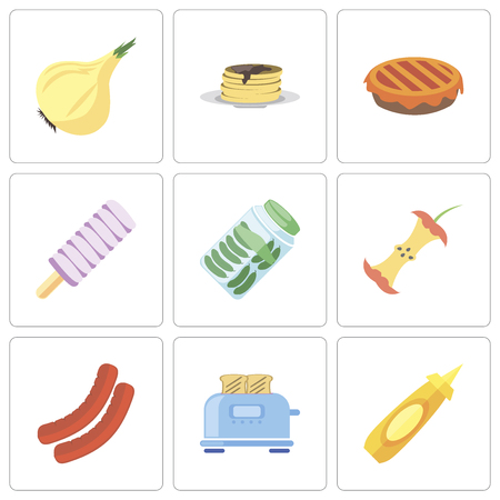 Set Of 9 simple editable icons such as Mustard, Toaster, Sausage, Apple, Pickles, Ice cream, Pie, Pancakes, Onion, can be used for mobile, pixel perfect vector icon pack