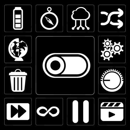 Set Of 13 simple editable icons such as Switch, Video player, Pause, Infinity, Fast forward, Volume control, Garbage, Settings, Worldwide on black background