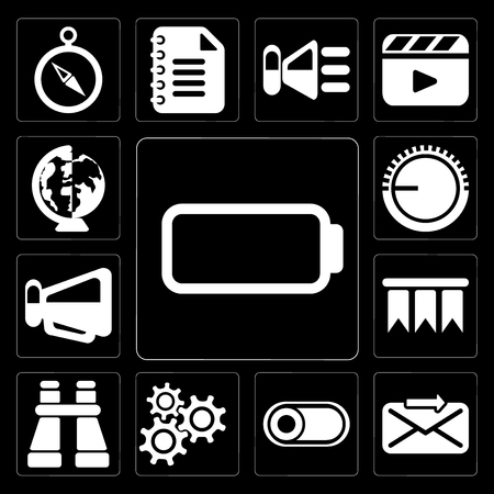 Set Of 13 simple editable icons such as Battery, Send, Switch, Settings, Binoculars, Bookmark, Megaphone, Volume control, Worldwide on black background