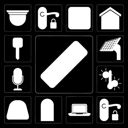 Set Of 13 simple editable icons such as Remote, Handle, Laptop, Door, Dial, Temperature, Voice control, Panel, Smart key on black background Stock Illustratie