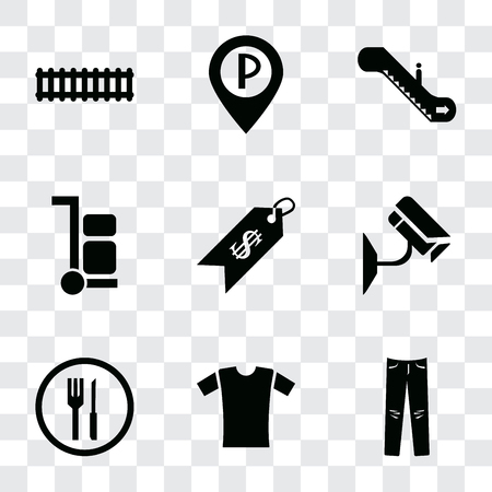 Set Of 9 simple transparency icons such as Jeans, Shirt, Restaurant, Cctv, Price, Trolley, Escalator, Parking, Train, can be used for mobile, pixel perfect vector icon pack on transparent background