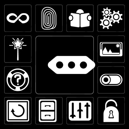 Set Of 13 simple editable icons such as More, Locked, Controls, Archive, Restart, Switch, Help, Picture, Magic wand on black background Stock Vector - 111925480