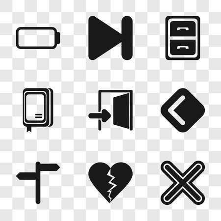 Set Of 9 simple transparency icons such as Multiply, Dislike, Back, Exit, Notebook, Archive, Next, Battery, can be used for mobile, pixel perfect vector icon pack on transparent background