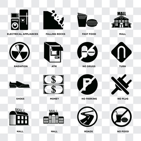 Set Of 16 icons such as No food, Roads, Mall, plug, Electrical appliances, Radiation, Shoes, drugs on transparent background, pixel perfect Illustration