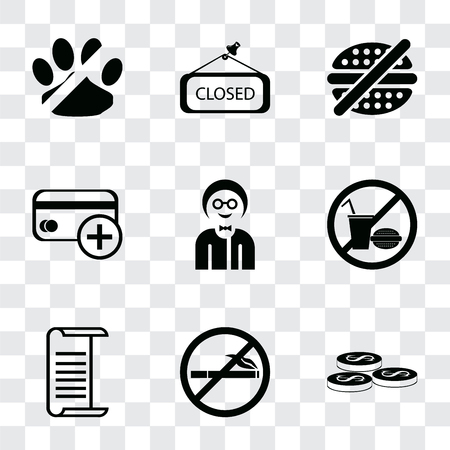 Set Of 9 simple transparency icons such as Coins, No smoking, List, food, Boy, Cit card, fast Closed, pets, can be used for mobile, pixel perfect vector icon pack on transparent Ilustração