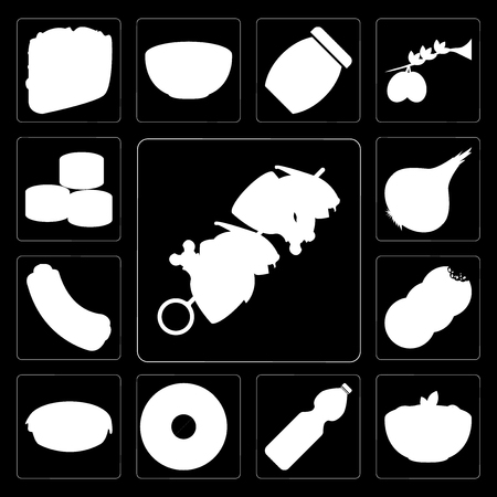 Set Of 13 simple editable icons such as Kebab, Pasta, Water, Doughnut, Pie, Cookies, Hot dog, Onion, Sushi on black background Ilustracja