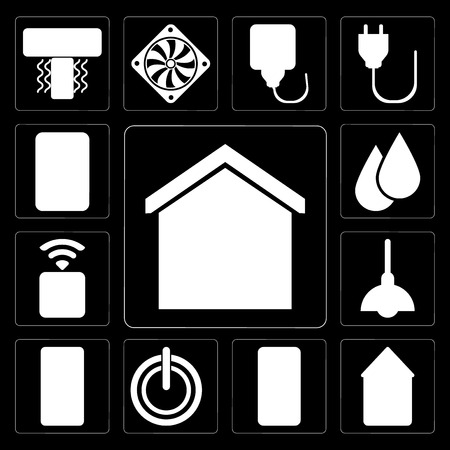 Set Of 13 simple editable icons such as Smart home, Home, Mobile, Power, Intercom, Lighting, Socket, Water, Plug on black background