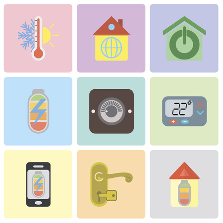 Set Of 9 simple editable icons such as Home, Handle, Mobile phone, Thermostat, Dimmer, Power, Smart home, can be used for mobile, pixel perfect vector icon pack Ilustração